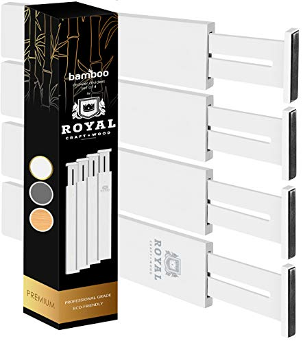 Bamboo Drawer Dividers Organizers - Expandable Drawer Organization Separators For Kitchen Dresser Bedroom Bathroom and Office 4-Pack White 135-17 IN