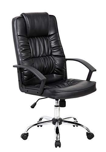 Homemania Melinda Bureaustoel, zwart, verstelbare zithoogte met wieltjes en armleuningen, nylon, metaal, PU, eenheidsmaat