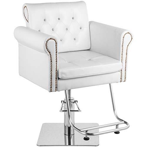 VEVOR Sedie da parrucchiere 65 x 50 x 91-105 cm, Poltrona Barbero, Sedia da parrucchiere idraulica con carico 180 kg, sedie da barbiere Barber Chair colore bianco per spa bellezza