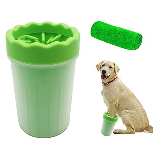 FeelGlad Hunde Pfote Reiniger, Pfotenreiniger Mit Einem 30x30cm,HandtuchTragbarer Pet Reinigung Pinsel Tasse Hundepfote Reiniger Fuß Reinigungsbürste Fuß Waschen Tasse