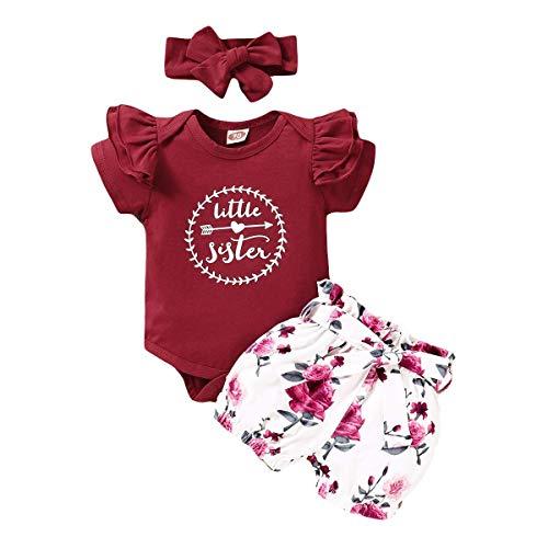 FYMNSI Conjunto de 3 Piezas Verano Ropa Bebe Niña Camiseta Mameluco de Manga Corta + Estampado de Flores Pantalón Corto + Banda de Pelo para Recien Nacido Bebé Vino Rojo 0-3 Meses