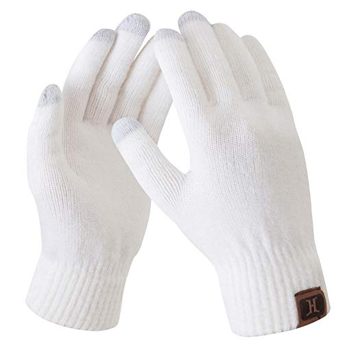 Bequemer Laden Damen Winter Warme Touchscreen Handschuhe Weiß