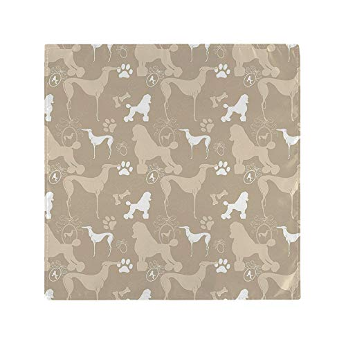 AmaUncle Napkins, Pet Animals Accessories Leash Paw Print Bone Ornamental Abstract, Square Printed Party & Dinner Napkin, 20' x 20', Polyester Pack of 4 NO-61073