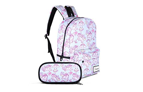 Large Rainbow Unicorn Backpack,Laptop Bag with Pencil Case Set for School,Travel