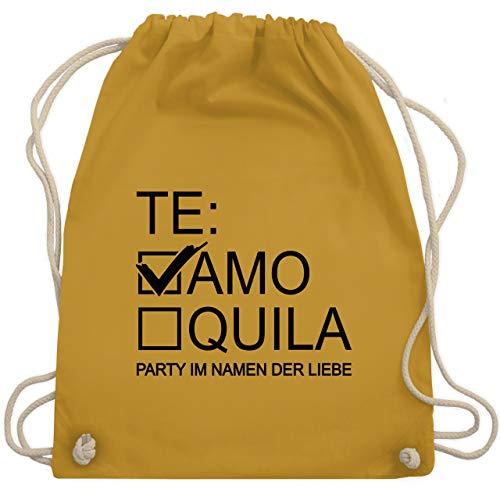 Shirtracer JGA Junggesellenabschied Frauen - Teamo/Tequila - schwarz - Unisize - Senfgelb - Spruch - WM110 - Turnbeutel und Stoffbeutel aus Baumwolle