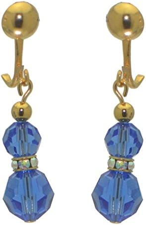 AMUNET gold plated sapphire blue crystal clip on earrings