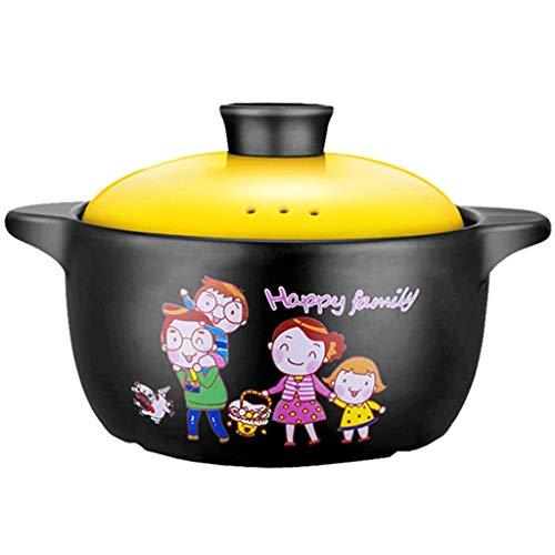 Braadpan Casserole, huishoudelijke keramische stoofpot, met deksel pap pot, gasfornuis, magnetron Oven, cartoon patroon, geschikt voor 2-4 personen