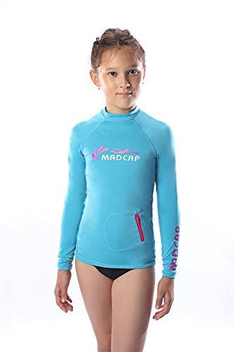 MADCAP Girls Rash Guard Long Sleeve Swimwear Swim Surf Shirt Top UV Sun Protection for Toddler and Teen Girls 4-16 Years Old (Blue, XXX-Small / 4)