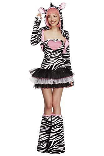 Fever Damen Zebra Kostüm, Tutu-Kleid mit abnehmbaren Trägern, Jacke mit Tier Kapuze und Überstiefel, Größe: S, 22798