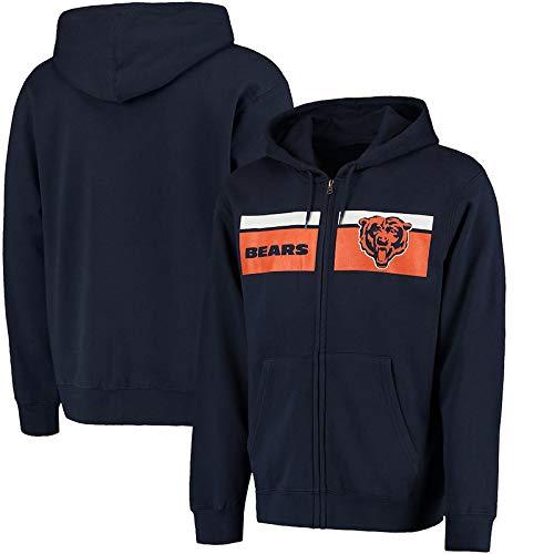 CHANGRAN Rugby Hoodie Chicago Bears Herbst und Winter langärmelige Pullover Sakko Fußball Plus Samt Padded Jacket für Männer und Frauen,XXXL