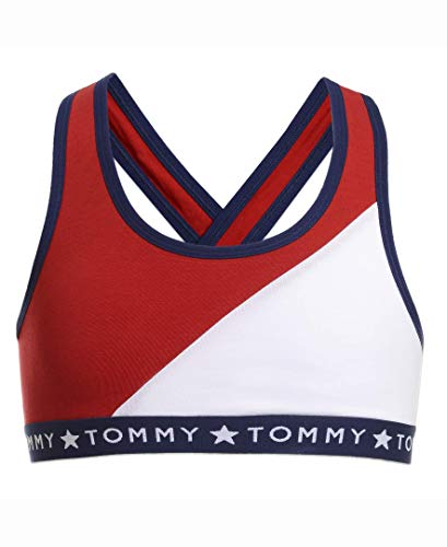 Tommy Hilfiger Big Girls' Sports Bra, Color block white, L12/14, L12/14