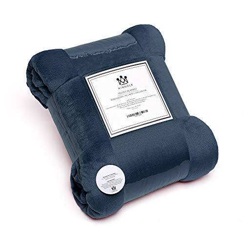 Kingole Flannel Fleece Microfiber Throw Blanket, Luxury Navy King Size Light Weight Cozy Couch Bed Super Soft and Warm Plush Solid Color 250GSM (108 x 90 inches)
