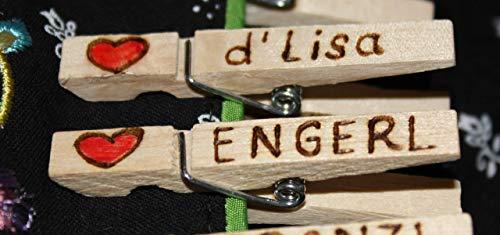 Glupperl Wäscheklammer mit Gravur gebrannt für Dirndl, Lederhose, Bedienung Gastgeschenk Hochzeit Wunschname Wunschtext Name personalisierbar