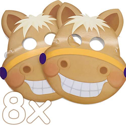 Ponymasken: 8 Masken * SÜSSES Pony * als Verkleidung für Kindergeburtstag oder Pferde-Mottoparty   mit Gucklöcher und Gummiband   Horse