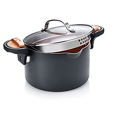 Gotham Steel Pasta Pot with Patented Built in Strainer with Twist N' Lock Handles, Nonstick Ti-Cerama Copper Coating by Chef Daniel Green, 4 Quart