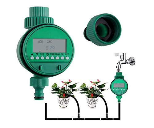 About1988 Bewässerung Zeitschaltuhr,Bewässerungs-Bewässerungs-Zeitgeber,Sprinkler-Timer Mit LCD-Anzeigen Magnetventil,Automatische Bewässerung Timer Garten Rasensprenger Kontrolle (Grün)