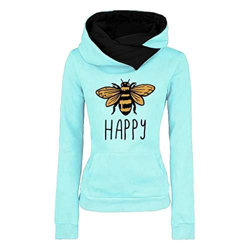 Hoodies FüR Frauen - Damen Casual Revers Pullover Damen Lange ÄRmel Bee Gedruckt Hoodie Sweatshirt(Hellblau,2XL)