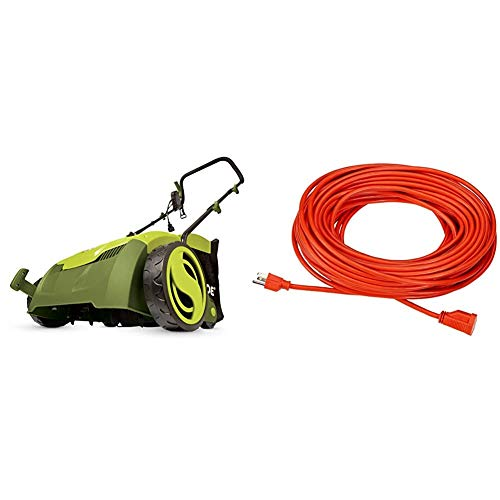 Sun Joe AJ801E 13 in. 12 Amp Electric Scarifier + Lawn Dethatcher w/Collection Bag, Green & AmazonBasics 16/3 Vinyl Outdoor Extension Cord | Orange, 100-Foot