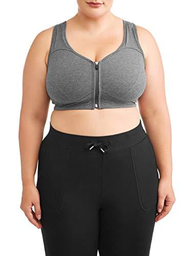 Athletic Works Women's Plus Size Zipper Front Sports Bra, Charcoal, 5X