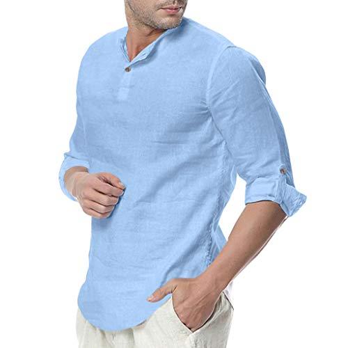Chemise FNKDOR Hommes Bouffant Mélange de Coton Yoga T-Shirts Couleur Unie Trois Guarts Hauts Blouses(Bleu Clair,3XL)