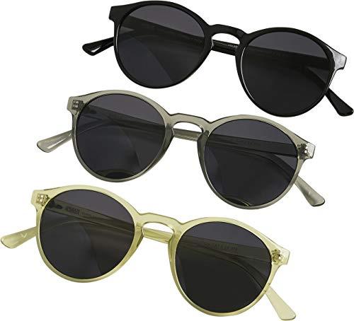 Urban Classics Sonnebrille Sunglasses Cypress 3-Pack Lunettes de soleil, Noir/Gris Clair/Jaune, taille unique Mixte Enfant