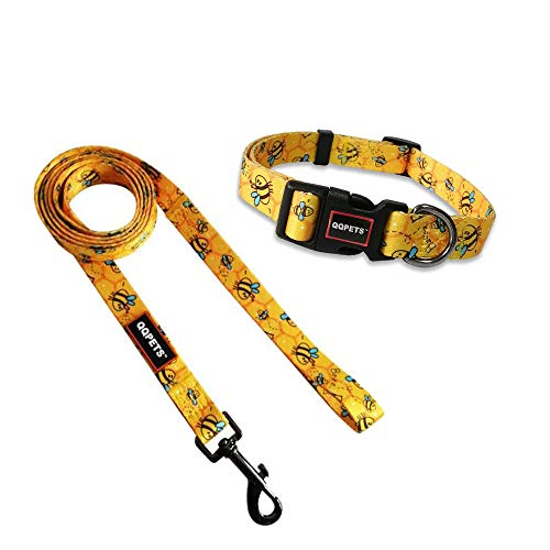 QQPETS Dog Collar Leash Set Adjustable Personalized Basic Collars Leash with Handle for Puppy Medium or Large Dogs Training Walking (M, Yellow Bee)