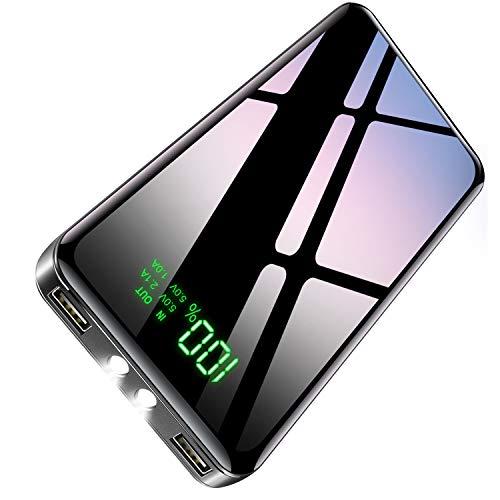 2020年最新型&PSE認証済 モバイルバッテリー 大容量 25800mAh パススルー機能搭載 急速携帯充電器 LEDライト機能 2USBポート 最大2.1A出力 二台同時充電 LCD残量表示 スマホ充電器 旅行 出張 緊急用 防災グッズ iPhone iPad Android各種他対応 (ブラック)