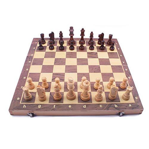 SHBV Juego de ajedrez de Madera para niños y Adultos Juego de ajedrez Staunton de 12 x 12 Juegos de Tablero de ajedrez Plegables Almacenamiento para Piezas de Madera para niños y Adultos