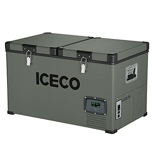 ICECO VL60 Dual Zone Portable Refrigerator with SECOP Compressor, 60 Liters Platinum Compact Refrigerator, DC 12/24V, AC 110-240V, 0℉ to 50℉, Home & Car Use (without Insulate Cover)