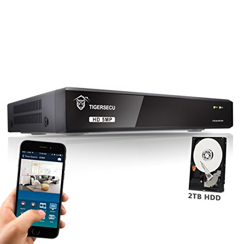 TIGERSECU 5MP Super HD H.265+ 8-Channel Hybrid 5-in-1 DVR NVR Security Video Recorder with 2TB Hard Drive, Supports Analog and ONVIF 2.0+ IP Cameras (Cameras Not Included)