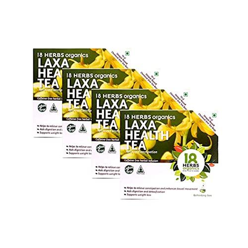 18 Herbs Organics Laxa Health Tea (15 Tea Bags -21 grams – Duplex Carton – Pack of 4) Herbal Tea With Laxatives For Constipation – Chemical Free Unique Round Detox Tea Bags Enhances Bowel Movement