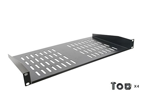 Rack Shelf - Universal Cantilever Vented 1U Rack Tray for 19-inch Server Racks and Cabinets  Premium Heavy Duty Cold Rolled Steel Designed to Hold Network and AV Equipment