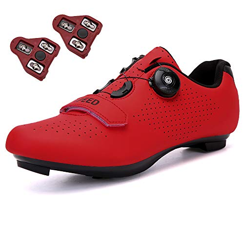 GENAI Men Road Bike Shoes Women Cycling Shoes Included Look Cleats(Combination Set) Compatible with Look SPD/SPD-SL for Outdoor/Indoor Cycling Exercise Shoes Red