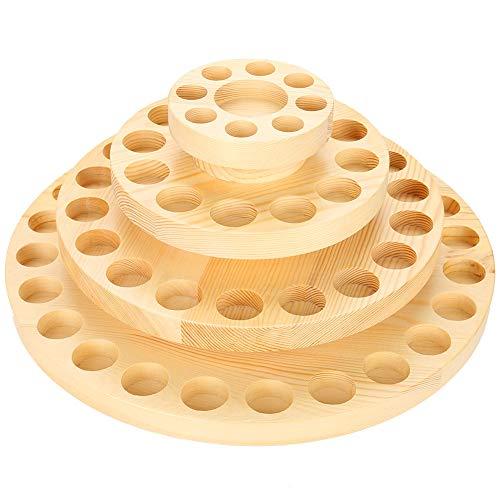 GOTOTOP Redondas giratorios Aceites Esenciales Caja Pantalla , Agujeros Madera Aceite Esencial Botella Memoria Pantalla Organizador Contenedor Madera Caja Redonda Caso