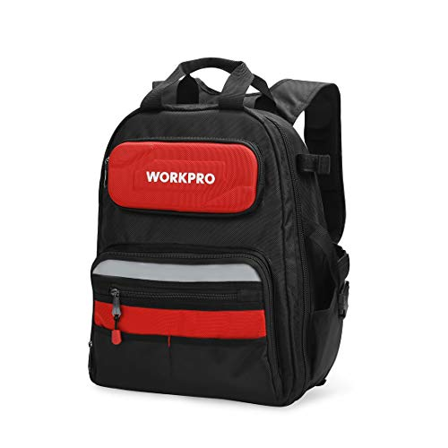 WORKPRO 29-Pocket Heavy-Duty Tool Backpack with Rubber Feet, Padded Back, Perfect Storage & Organizer for Electricians, Plumbers, Contractors, HVAC, W081131A