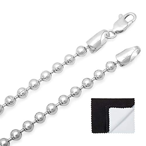 4mm High-Polished .925 Sterling Silver Round Ball Chain Necklace, 24 inches + Jewelry Cloth & Pouch