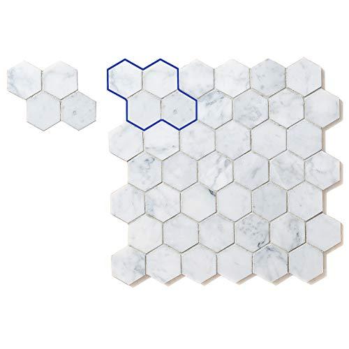 Italienische Carrara (Bianco Carrara) Marmor Mosaik Fliese 5,1cm Sechseck Muster geschliffen Probe–Verkauft von PC, weiß