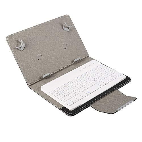 Teclado Bluetooth con Estuche para Tableta de 7 '', Laptop Funda de Teclado PU Universal Teclado inalámbrico Bluetooth 2 en 1 para Tableta Smartphone.