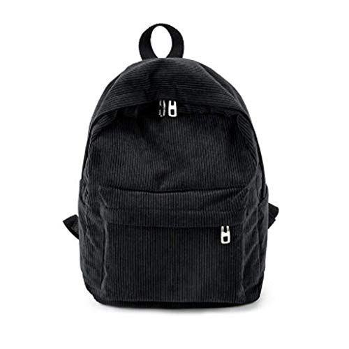 Kofun Rucksack für Damen, Vintage-Rucksack, Kord, Schultasche, Casual Computer Bookbag - Schwarz
