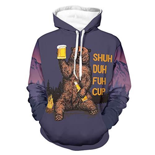 Shuh Duh Fuh Cup Bear Beber Beer Camping - Sudadera con capucha para hombre, con bolsillos, tallas regulares y grandes, regalos para hombres y mujeres