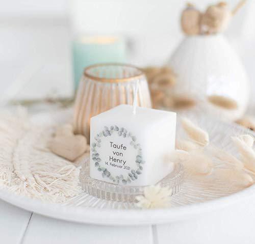 3 Stück Kerze Gastgeschenk zur Konfirmation, Kommunion oder Taufe - Geschenke für Gäste - Danksagung - personalisiert - Eukalyptus