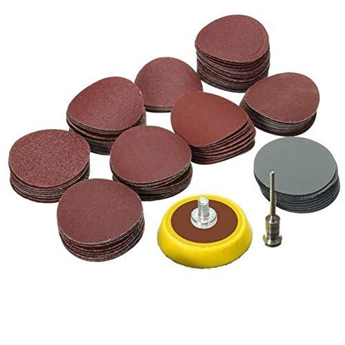 YELLAYBY Schleifwerkzeug Schleifwerkzeug 100pcs 25mm 80-5000 Grit Schleifpapier mit 1/8 Zoll-Schleifteller Schmirgelpapier Set Kit