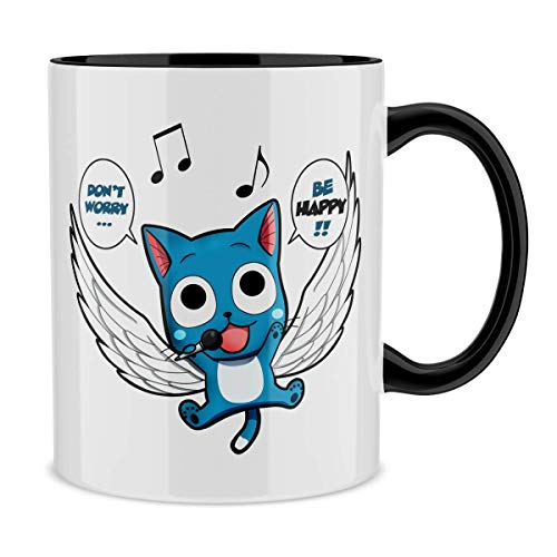 Okiwoki Mug avec Anse et intérieur de Couleur (Noir) - Parodie Fairy Tail - Happy - Don't Worry. Be Happy !! (Mug de qualité supérieure - imprimé en France)