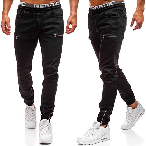 Loeay Mens Cool Designer Brand Black Jeans Skinny Ripped Destroyed Stretch Slim Fit Hop Hop Pantalones con Agujeros para Hombres Pantalones Casuales