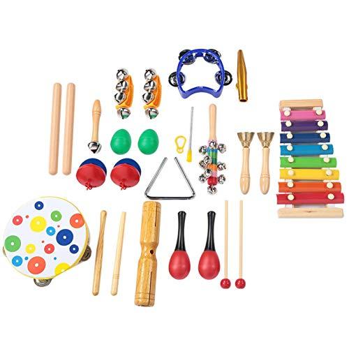 Instrumentos musicais infantis, 19 peças de material seguro, não tóxico, ecológico, kit de instrumentos musicais educativos precoce da criança, sino de tambor de mão, sino de ritmo, bumbo