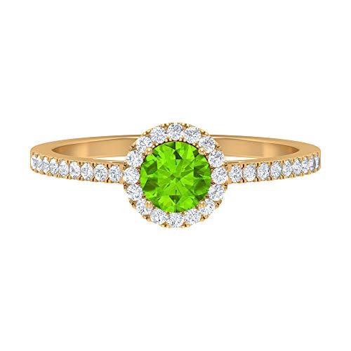 Anillo de halo solitario de 1 CT, 5 mm creado en laboratorio, anillo de kryptonita, anillo de halo de diamante HI-SI, anillo de compromiso de piedra lateral, 14K Oro amarillo, Size:EU 68