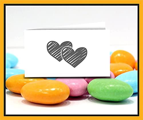 Bigliettini Bomboniera Nozze Sposi - Biglietti per fazzoletti confetti Matrimonio, sacchetti Sposi, tag confetti 60 pezzi pretagliati