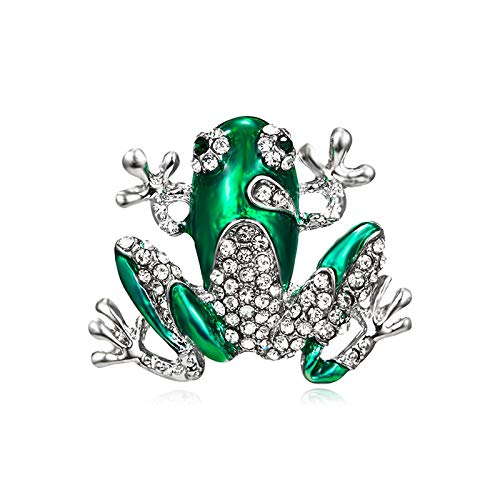 wangk Cute Green Animal Dragonfly Frog Brooches for Women Men Punk Party hijab Bag Accessory Imitation Pearl Brooch Pins 2