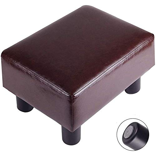 Footrest Small Ottoman Stool PU Leather Modern Seat Chair Footstool, Brown