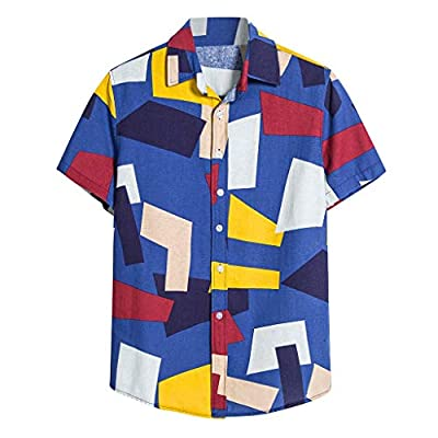 STORTO Mens Colorful Printed Shirts Lapel Short Sleeve Button Down Summer Casual Holiday Hawaii Beach Tee Shirts Tops